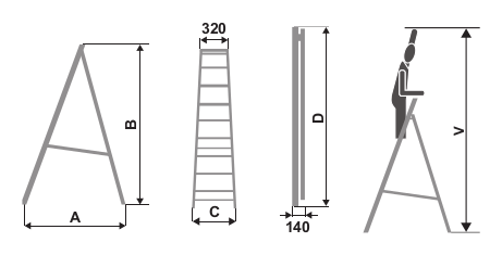 "ALUMINIUM BUILDER LADDER ""SHR"""